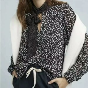 NWT Conditions Apply Marion Leopard Blouse M $118